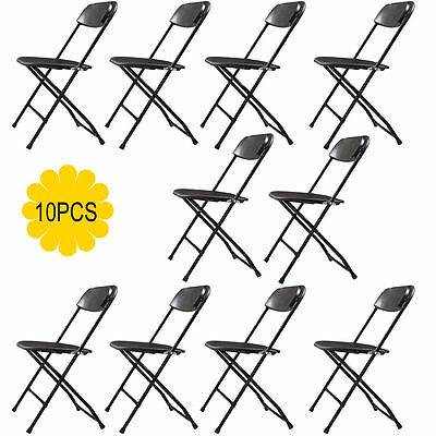 (10 PACK) Commercial Wedding Quality Stackable Plastic Folding Chairs Black