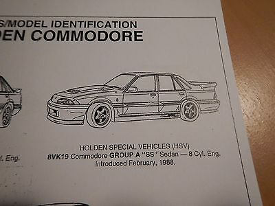 HOLDEN GMH ID INFORMATION & CODES , VL 86 87 88 + Group A & HDT SS Commodore