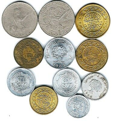 11 different world coins from TUNISIA