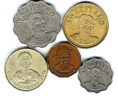 5 different world coins from SWAZILAND