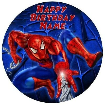 Spiderman Personalised Edible Icing or Wafer Paper Cake Topper 19cm PRE-CUT