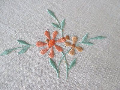 VINTAGE TABLECLOTH EMBROIDERED with FLOWERS - LINEN - UNUSED
