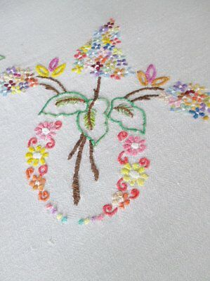 """VINTAGE TABLECLOTH-HAND EMBROIDERED FLOWERS-50""""sq."""