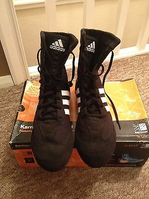 Adidas Box Hog 2 Black Boxing Boots Adults Mens Size 10.