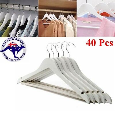 Wooden Hanger White Anti-Slip Coat Clothes Garment Suit Shirt Trouser Rack 40Pcs
