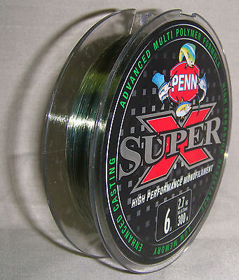 Penn Super X 6lb x 300m Mono Line - Green *New in Packaging*