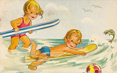 Postcard: Cartoon Children on Surfboards Posted 1973 Constance West Sussex AL472