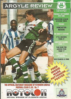 Football Programme - Plymouth Argyle v Doncaster Rovers - Div 3 - 9/9/1995