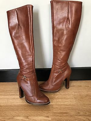 "Vintage Tan Leather Boots Size 3 With 4"" Inch Heels"