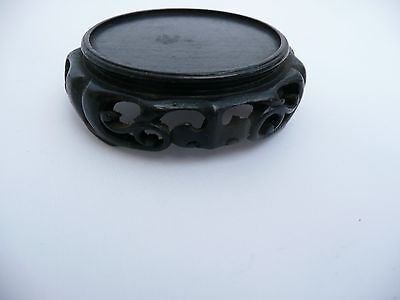 "Rare Antique Chinese Carved Wooden Vase Bowl Jade Stand Base Display 1.75"" Dia"