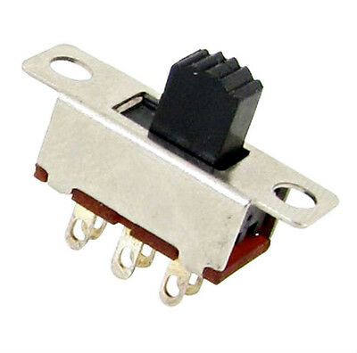10 Pcs 2 Position DPDT 2P2T Panel Mount Vertical Slide Switch 6 Pin 0.5A 50V  TI