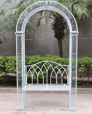 Garden Arch with Bench Seat Climbing Plants Rose Arbour Metal Pergola Trellis