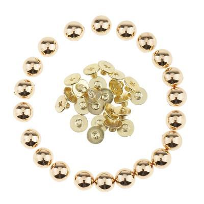 20x Metal Mushroom Dome Studs Rivets Spikes for Leathercraft DIY Gold 8mm