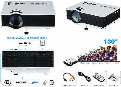 "Proiettore TV 130"" Videoproiettore Full HD home cinema VGA/USB/SD/AV/HDmi + 100"""