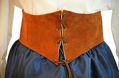 Les Mis-Victorian-Pirate-LARP-Cos-Play-LADIES BROWN LEATHER LACE UP BELT