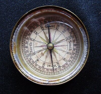 Antique Compass Brass Case Hand Colored Dial 16 Compass Points