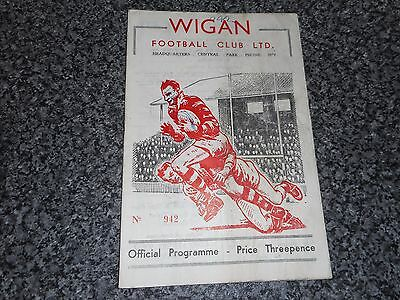 RUGBY LEAGUE PROGRAMME :  WIGAN  v  HALIFAX  1957/8 ~ MARCH 22nd  *FREE POST*
