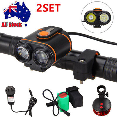 10000LM 2xXM-L2 LED Bike Bicycle Lamp Rechargeable Light Headlamp Torch H/L Beam