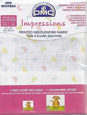 "DMC Impressions 14 count Aida Fabric 14x18"" Butterflies"