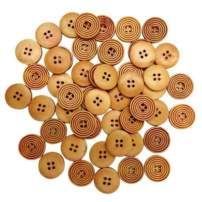 100 Pieces Spiricle Natural Wooden Buttons Round 4 Holes 20mm DIY Crafts