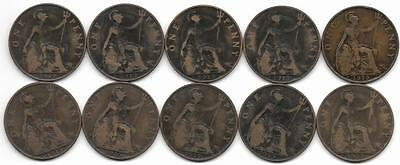 Great Britain 1919 H George V One Penny Coins x 10 Heaton Mint