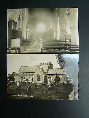 2 x West Hanney Church Real Photo RP Postcards - Berkshire & Oxfordshire