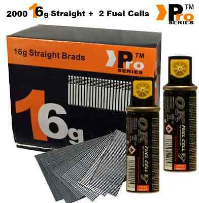 2000 x 16g 2nd Fix Straight Galvanised Brad Nails &Gas For Paslode IM65 ( 20mm )