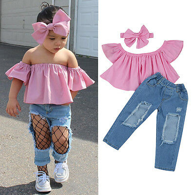 3PCS Kids Toddler Baby Girl Off Shoulder Shirt Tops+Jeans Pants+Headband Outfits