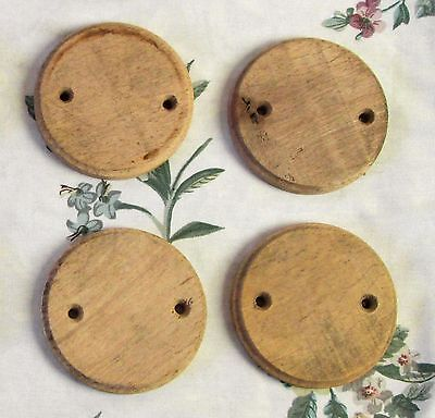 Four (4) Vintage French Wood Pattress Mounts For Light Switches / Ceiling Roses