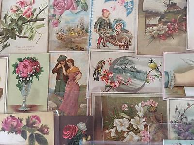 Lot of 32 old  Victorian Paper-Trade Cards-Ephemera-Scraps, etc.-