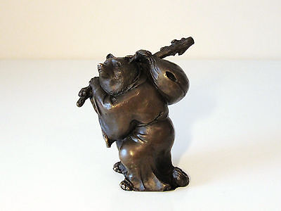 Interesting Oriental Bronze Statue Telling The Story Of The Badger & Tea Kettle