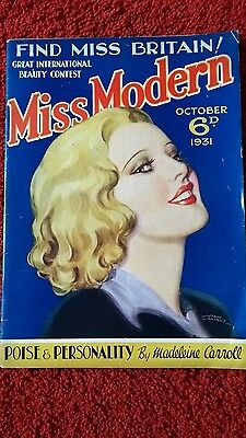 MISS MODERN MAGAZINE  oct 1931 30s vintage / fashion, hair beauty, cooking etc.