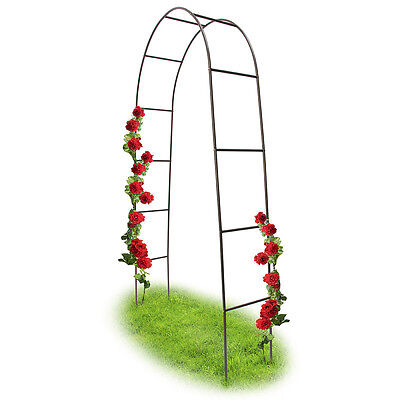 Metal Steel Garden Rose Arch Trellis Arbour Support for Climbing Plants, 2.4m
