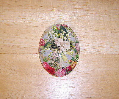 Vintage Floral 30X40mm Glitter Unset Handmade Art Bubble Cameo Cabochon
