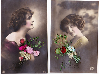 2 Vintage Glamour Postcards Of Lovely Ladies With Real Silk Flowers -