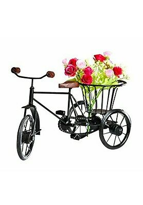 Wooden & Wrought Iron Small Miniature Tricycle Flower Rikshaw Vase