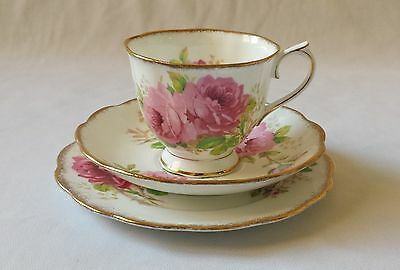 Beautiful Vintage Royal Albert American Beauty Crown China Trio - England - Rose