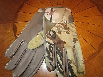 Under Armour Trigger Ridge Reaper® Barren Camo Wool Leather Gloves Sz Medium NWT