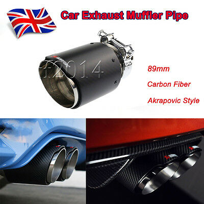 1xUniversal For Akrapovic Style Car Exhaust Muffler Pipe Tip Carbon Fiber