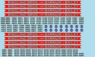 RB101 Ringling Bros. RBBB Circus Decals N Scale Coaches & Flats Blue Unit