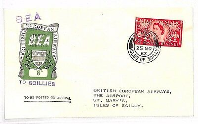 BG32 1953 GB ISLES OF SCILLY Internal BEA Airmail Cover *St. Marys* Arrival CDS