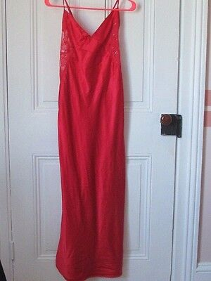 Victoria's SECRET Red Silky Nylon & Lace LONG GOWN / NIGHTGOWN ~ Size L Large