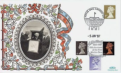 GB BENHAM Silk Cover: 1997 1st Machin Stamp 30th Anniversary + London SW Cancel