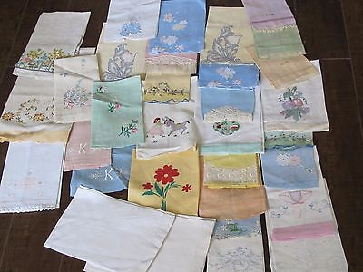 Vintage Lot Linen Tea Guest Hand Towel Embroidered Flower Bow Towels