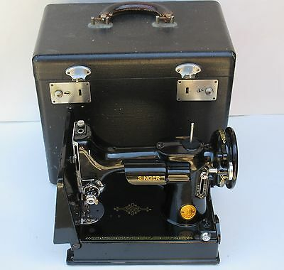 Vintage Singer 221 Scroll Featherweight Sewing Machine Serviced