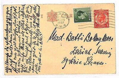 BG40 1937 GB KEVIII MIXED REIGNS FRANKING London *Kilburn* KGV Stationery