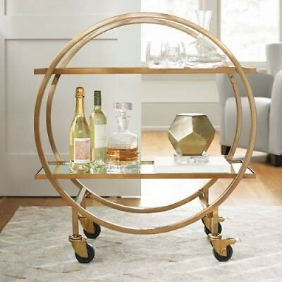 Elegant Modern Mobile Rolling Bar Service Cart Mirrored Shelves For Barware