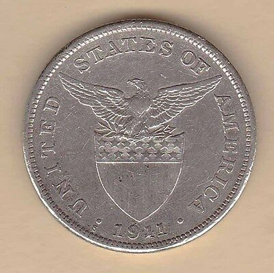 US Philippines 1911-S One Peso Silver Crown 1 peso Semi-Key