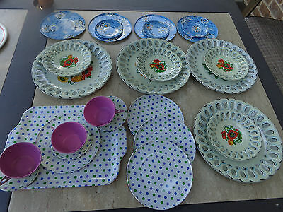 Vintage Tin Childs Dish Assorted Set 26 Pieces Poppies,Daisy,Polka Dots