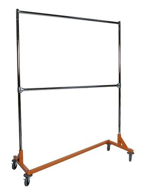5' Foot Deluxe ADJ Height Commercial Double Rail Rolling Z Rack Chrome & Orange